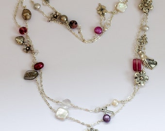 Pink glass beaded and pearl long chain necklace
