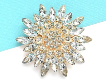 Silver & Gold Rhinestone Brooch Crystal Brooch Wedding Accessories Bridal Brooch bouquet Hair comb