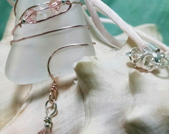 1514N Frosted Clear Sea Glass Necklace