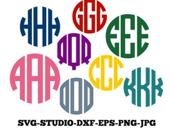 Circle Monogram SVG, Circle Font, Circle Monogram Font, SVG Files, Svg, Png, Eps, Dxf, jpg