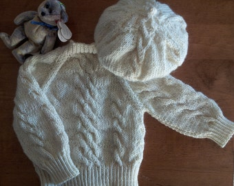 CUSTOM Knit Cream Color Baby Sweater Set with Beret (2 Piece): Little Irish Fisherman!