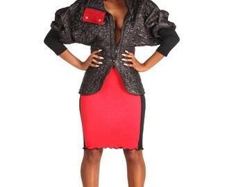 Quilted Bomber Jacket with Dolman Sleeves and Peplum Waistline