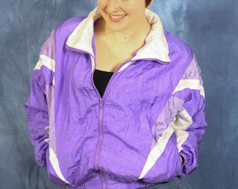 Vintage 80s 90s Purple Windbreaker // Color Block // Shell Shock // Activewear Sport Athletic