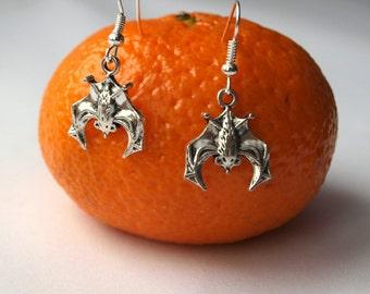 Halloween jewelry Silver bat earrings Flittermouse jewelry Rattle mouse charm earrings Dangle cute earrings Gift for friend under 10 dollars