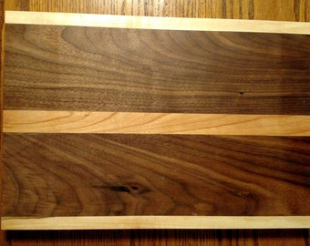 "13""x9""x 3/4"" cutting board: walnut, with maple and cherry"