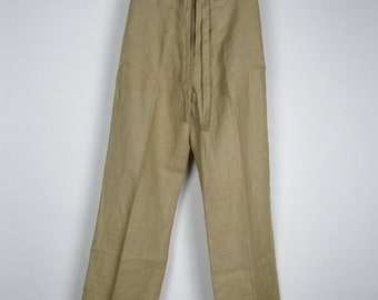 Vintage Linen Pants / 90s Banana Republic Tan High Waist Wide Leg Trousers / Medium M 8