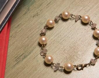 Rose quartz and vintage faux pearl bracelet