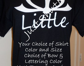 Short Sleeve Big, Little, GBig, GGBig etc TShirt  - Your Choice of Shirt Size, Shirt Color, Bow Color and Font Color