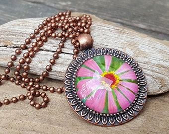 Pink Daisy Pendant Necklace