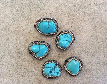 pave crystal encrusted turquoise beads gemstone 20-30mm boho wholesale