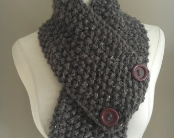 Knitted Cozy Bulky Brown Tweed Cowl Neck Warmer Handmade Accessories Ready To Ship