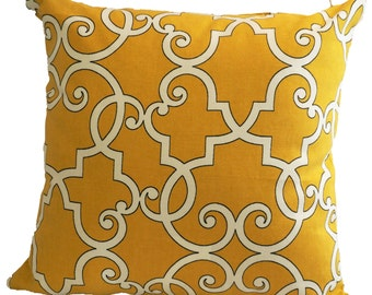 Canary Yellow Decorative Pillow Cover with Zipper