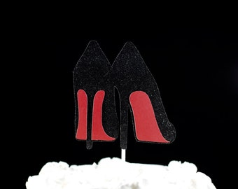Christian Louboutin Inspired Red Bottom Glitter Cake Topper - Red Bottom Heels, Sexy Heel Topper, Bachelorette Party Decor