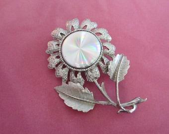 Jewelorama Prismatic Silver Tone Flower Pin