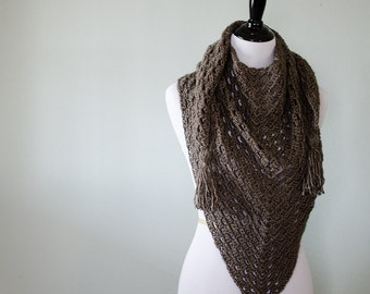 Triangle Fringe Scarf | The Harper | Wrap | Shawl | Crochet