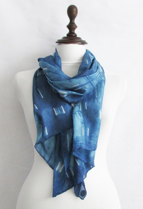 gift idea infinity silk scarf blue scarf movement