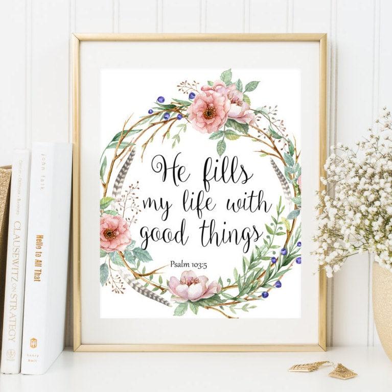 bible verse wall art home decor boho style scripture print. Black Bedroom Furniture Sets. Home Design Ideas