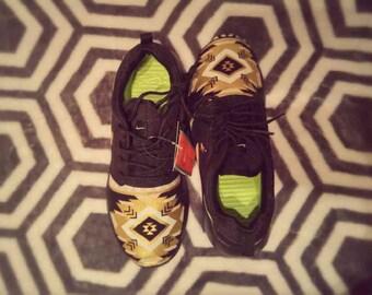 Custom Nike roshe run aztec tribal gold and black