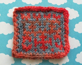 Hilbert Curve knitted patch