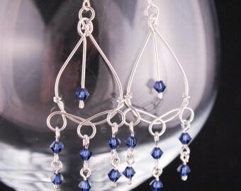 Blue Sapphire Earrings - Dark Blue Crystal Earrings - Chandelier Earrings