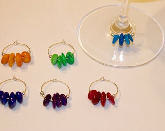 Colourful Beaded Wine Glass Charms - Set of 6