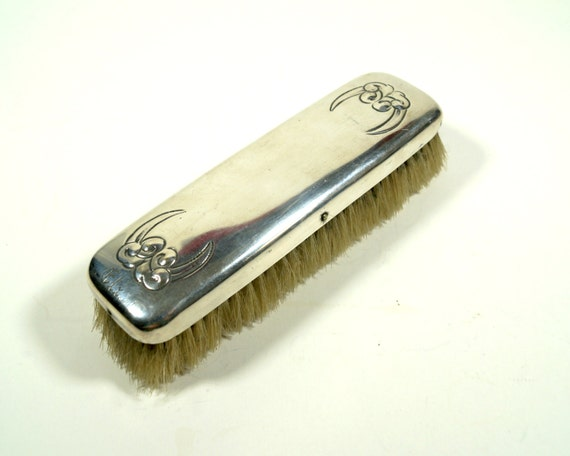 vintage clothes brush antique brush silver plated clothing