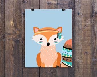 Tribal Fox - Nursery Wall Art, Printable Woodland Decor, Animal Play Room Art, Cute Kids Poster, Fox Nursery Art, Woodland Baby Boy Gift