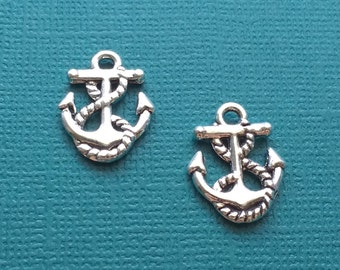 10 Anchor Charm with Rope Silver - CS2526