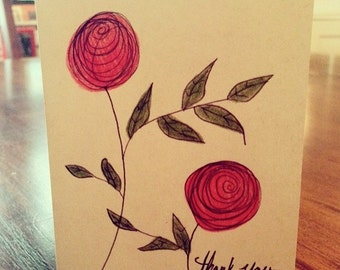 Thank You with Sketched Roses
