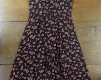 Vintage Black Rosebud Floral Full Swinging Maxi Dress Fitted Bodice Sundress 90s
