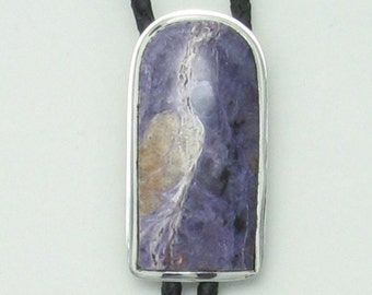 Western Charoite bolo tie with leather cord sterling silver setting and sperical bolo tips #118