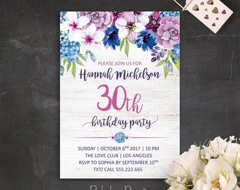 30th birthday invitation floral 30th birthday invite 30th, Birthday invitations