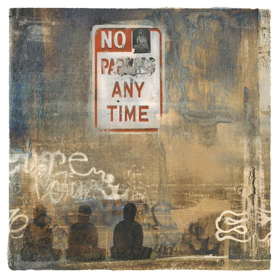 Banksy Was Not Here, urban art, contemporary print, Buddha, street art, urban decay, wall art, urban decor, iskra fine art, collage, square
