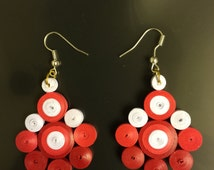 Red White Quilled Paper Earrings, dangle earrings, quilled paper earrings, quilled jewellery