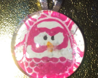 Pink Owl glass pendant