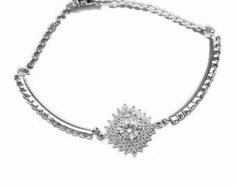 Bridal bracelet, CZ bracelet, Bridesmaid bracelet, Wedding bracelet, Cubic zirconia bracelet, Swarovski crystal, Bridal jewelry 0180