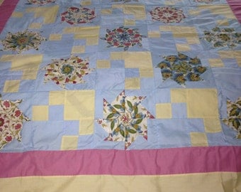 Blue and Yellow Kaleidoscope Quilt Top