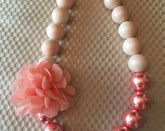 Peachy Coral Floral chunky bead necklace