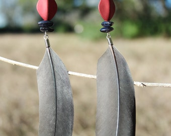 Gray Parrot Feather Earrings