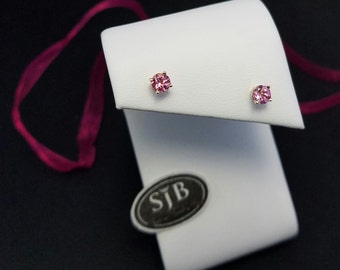Pink Tourmaline Earrings, Pink Tourmaline Stud Earrings, 14k Yellow Gold Pink Tourmaline Earrings, October Birthstone Earrings, #E1012