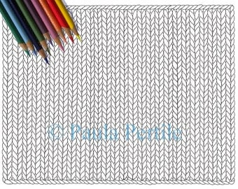 BLANK KNIT HORIZONTAL Coloring Page / Printable Knitting Coloring Page / Drawing of Knitting / Pdf Knitting Art