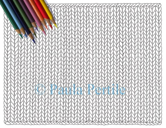 blank knit horizontal coloring page    printable knitting