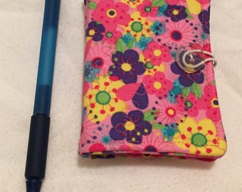 Sewing Needle Book - pink multi colored floral fabric