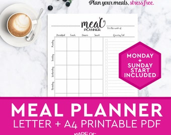 Meal Planner PRINTABLE -A4 + Letter grocery shopping list, weekly meal plan, healthy meals planner