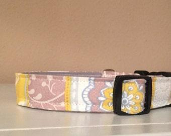 Yellow, Grey, & White Flower Print Dog Pet Collar
