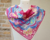 Handpainted  Silk Scarf Pink silk scarf  Bright silk scarves Batik  silk scarf  Silk scarf square Small silk scarves  Magenta silk scarf