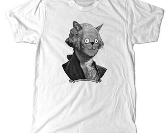 George Washingcat T-Shirt - A historical reenactment of George Washington as a cat on a tee shirt. meow.