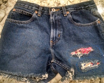 Womens Size 6 Cutoff Jean Shorts with Custom Patch