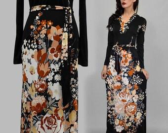 Vintage LEONARD Paris for Nini CAPUCCI Evening Gown Floral Art Nouveau Jersey Dress Festival