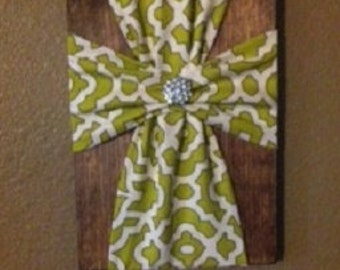 Fabric Cross Plaque, Wall Decor, Wooden, Rustic